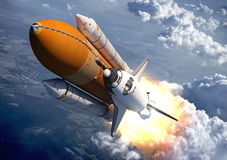 A space shuttle launching over planet earth - to illustrate the launch of a new website