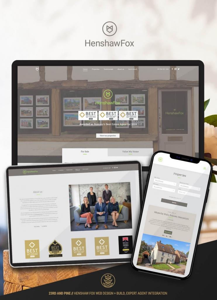 Portfolio Feature Henshaw Fox Website Screen Shots on Mobile, Tablet and Desktop