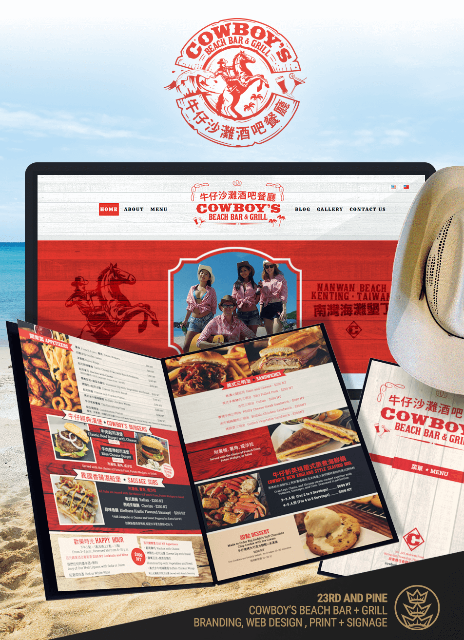Web Site and Menu Images for Cowboy's Beach Bar and Grill